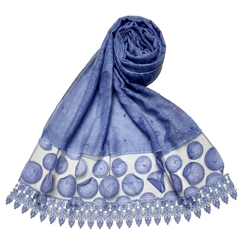Round  Circular Balls On The Net With Moti Studed and Uniquely Styled Border - Blue - Size - 75/185 CM