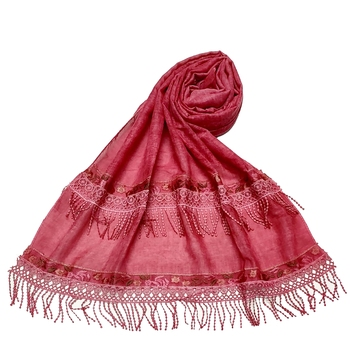 Double Sided Border With Double Sided Fringe's Cotton Hijab - Maroon - Size - 75/185 CM