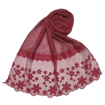 Diamond Studed Hijab With Beautiful Flower Work On Net - Maroon - Size - 75/185 CM