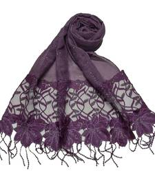 Heavy Work On Net and Heavy Flowerly Lace With Fringe's - Dark Purple - Size - 75/185 CM