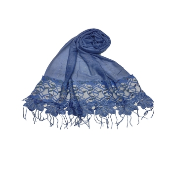 Heavy Work On Net and Heavy Flowerly Lace With Fringe's - Blue - Size - 75/185 CM