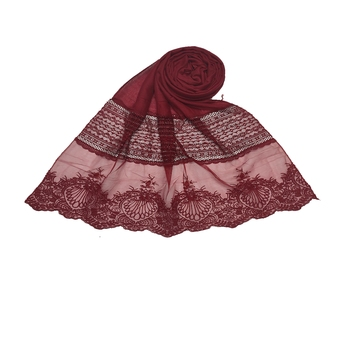Diamond Work Cotton Hijab -Maroon - Size - 75/185 CM
