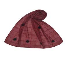 Box Checkered Cotton Hijab With Design and Moti Studed -Maroon - Size - 75/185 CM