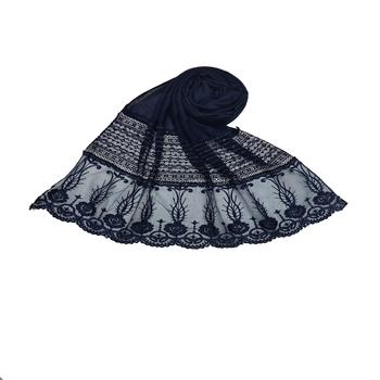 Diamond Work Cotton Hijab -Dark Blue - Size - 75/185 CM
