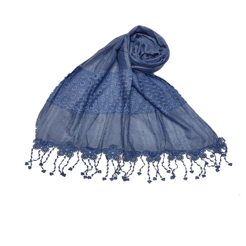 Flowerly Cotton  Border Hijab - Blue - Size - 75/185 CM
