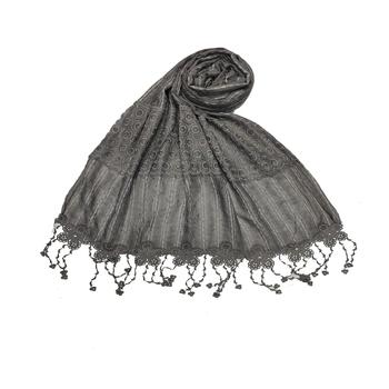 Flowerly Cotton  Border Hijab - Dark Grey - Size - 75/185 CM