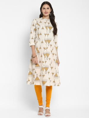 Printed A-Line Cotton Off white Kurta With Multiple Slit