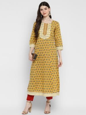 Printed & Mirror Work Anarkali Cotton Yellow Kurta