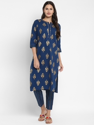 Foil Printed & Sequence Straight Cotton Blue Kurta With Pant