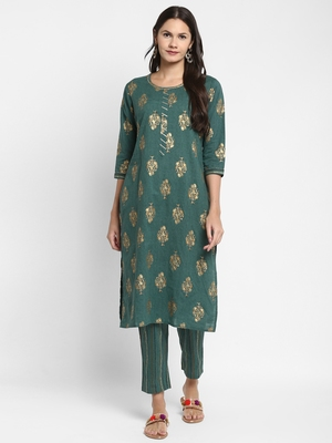 Foil Printed & Sequence Straight Cotton Green Kurta With Pant