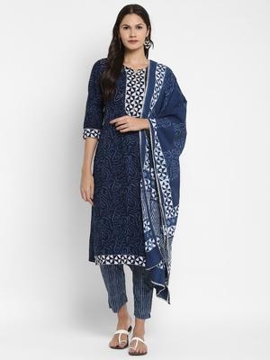 Shibori Print & Sequence Straight Cotton Blue Kurta,Pant & Dupatta
