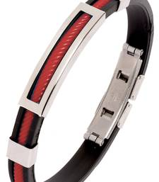 Biker Red Silicon Stainless Steel Openable Kada Bracelet for Men