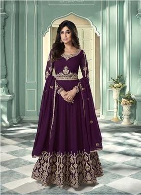 Purple Zari Embroidered Anarkali Suit