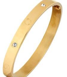 Buy Openable American Diamond 18K Gold Plated Surgical Stainless Steel Kada Bracelet for Men men-bracelet online
