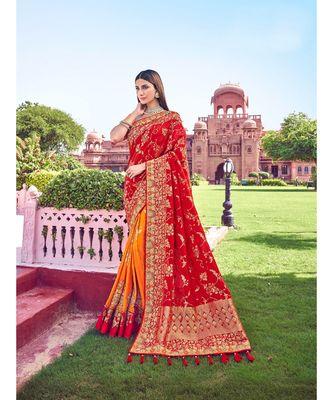 Red banarasi silk sarees