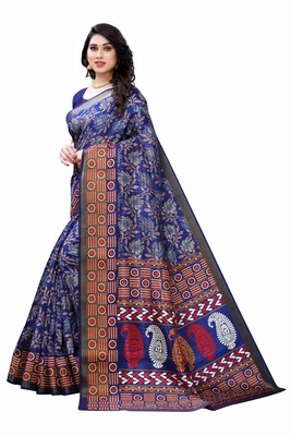 Blue Art Silk Floral Printed Saree With Blouse