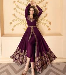 Wine Slit Style Zari Embroidered Anarkali Pant Suit