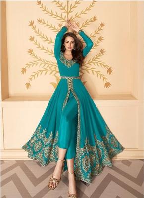 Sea Blue Slit Style Zari Embroidered Anarkali Pant Suit