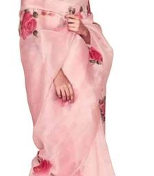 Baby pink printed organza saree with blouse