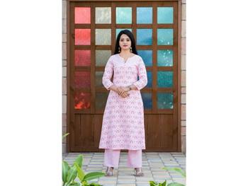Baby-pink screen print rayon salwar