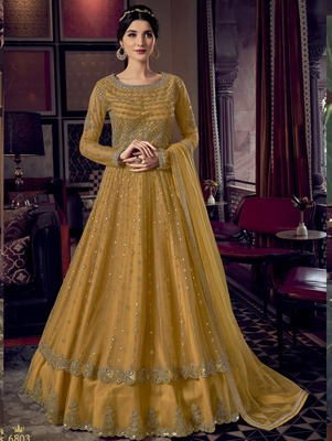 Mustard Embroidery, Beeds & Lace Work Net Semi Stitched Long Length churidar party-wear-salwar-kameez