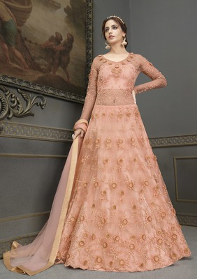 Peach Embroidery, Beeds & Lace Work Net Semi Stitched Long Length churidar party-wear-salwar-kameez
