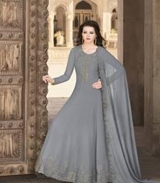 grey georgette festive salwar suits