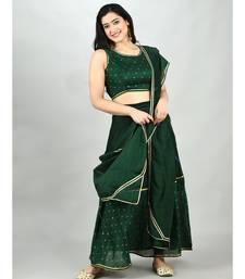 Myshka Women's Green Georgette Printed Sleeveless Round Neck Casual Blouse Lehenga Dupatta Set