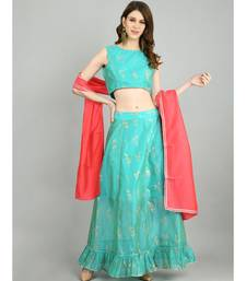 Myshka Women's Green Chanderi Printed Sleeveless Round Neck Casual Blouse Lehenga Dupatta Set