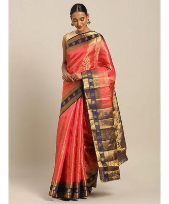 Pink Silk Jacquard Traditional Saree