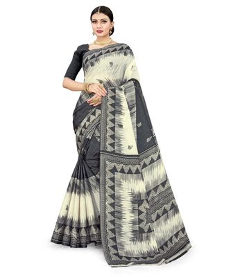 Grey & White Cotton SIlk Printed Daily Wear Saree