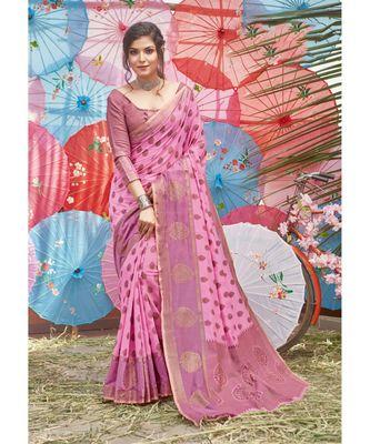 Pink Cotton Handloom Woven Work Traditional Saree