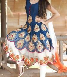 Buy BLue embroidered georgette semi stitched salwar party-wear-salwar-kameez online