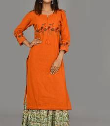 Orange Embroidered Cotton Stitched Kurta Sharara Set