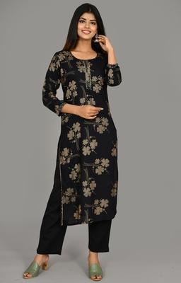 Black Printed Cotton Stitched Kurta Pant Set