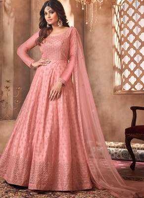 Peach Embroidery Wedding Anarkali Suit