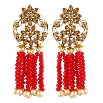 Red cubic zirconia earrings