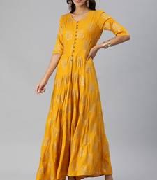 Yellow printed viscose rayon long-dresses