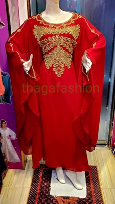 Red Zari Stone Work Georgette Islamic Style Beads Embedded Partywear Kaftan Evening wear Dubai kaftan Abaya Jilbab