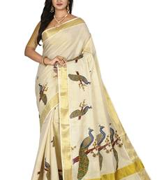 Light beige woven cotton saree with blouse