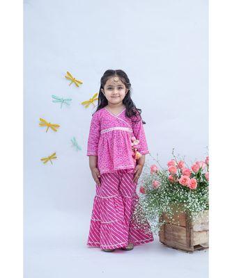 Pink Printed Kurti Sharara Set
