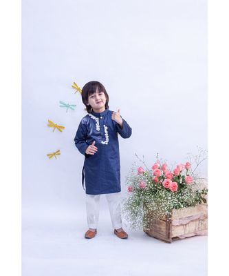 Blue Kurta with Dori Embroidery and Pant