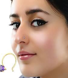 Designer Purple cubic zirconia nose ring or Nose Pin