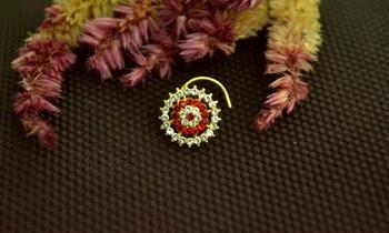 Designer 42 Diamond Red cubic zirconia nose ring or Nose Pin