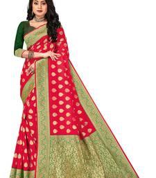 Mehrang Red Woven Banarasi Silk Zari Work Saree with Blouse