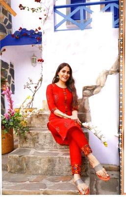 MAHATI red cotton kurta pajama