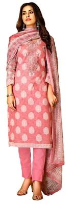 Pink   lawn cotton unstitched dress materials