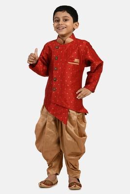 Maroon embroidered cotton silk boys-indo-western-dress