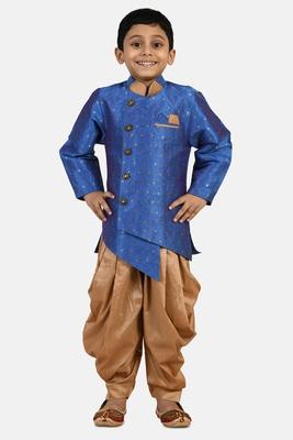 Blue embroidered cotton silk boys-indo-western-dress