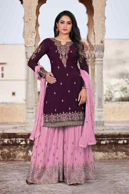 Purple FAUX GEORGETTE EMBROIDERY WOMEN'S SEMI STITCHED SHARARA SUIT